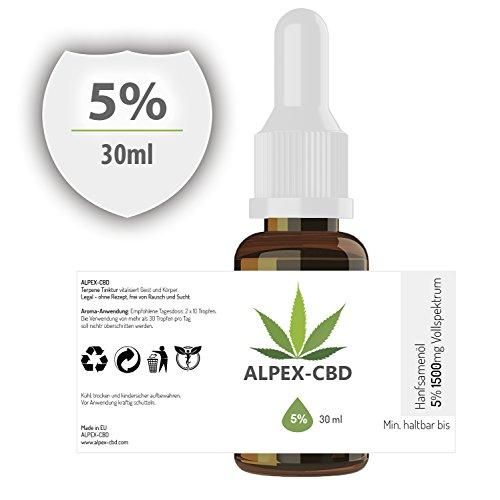 *ALPEX-Öl mit 5 Prozent (30ml), Naturbelassene Terpene Tinktur | Gutes Aroma*