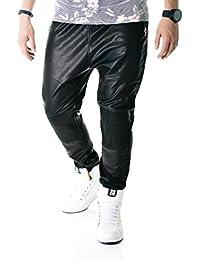 D&R Fashion Black Baggy Joggers Pantalons Mode Hommes Pantalons Slacks Faux cuir avec poches zippées