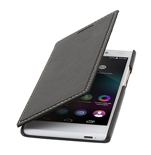 StilGut Book Type Case ohne Clip, Hülle aus Leder für Wiko Ridge 4G, schwarz