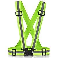 Chaleco de seguridad reflectante,Chaleco de seguridad reflectante ajustable Correa de cintura para correr, caminar, correr, ciclismo, motocicleta (verde)