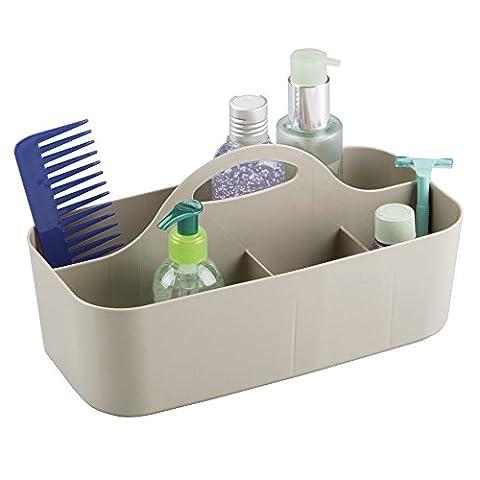 mDesign corbeille de douche avec 6 compartiments – bac de rangement pour douche et salle de bain, avec poignée – organisation de shampooing, gel de douche, rasoirs et Cie. – plastique,