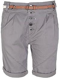 SUBLEVEL Damen Bermuda-Shorts mit Gürtel   Elegante kurze Hose im Chino-Look   Leichte Shorts
