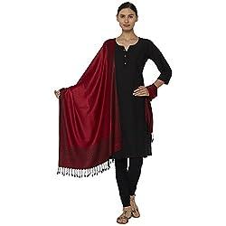 Sofias Designer Viscose 70 x 200 cm Woven Medium Red Color Shawl