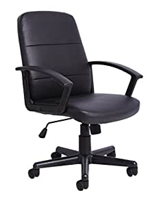 office chair controls. Office Essentials Height Adjustable PU Leather Manager Chair With Torsion Control - Black Controls