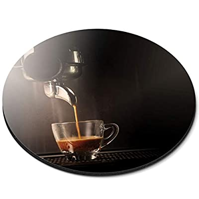 Round Mouse Mat - Espresso Coffee Shop Cafe Machine Office Gift - RM21699 by Destination Vinyl Ltd