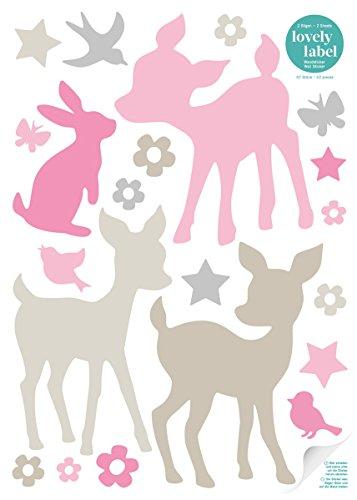 lovely label Wandsticker selbstklebend HÄSCHEN & REHE ROSA/GRAU/BEIGE - Wandaufkleber Kinderzimmer / Babyzimmer mit Rehen in versch. Farben - Wandtattoo Schlafzimmer Mädchen & Junge, Wanddeko Baby / Kinder (Baby-jungen Reh Kinderzimmer)