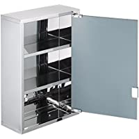 [Patrocinado]Lyndan - Espejo de pared de acero inoxidable Mueble de baño con 3 estantes