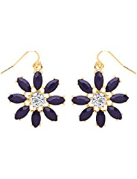 Front Row Silver Colour Burgundy and Navy Flower Earrings