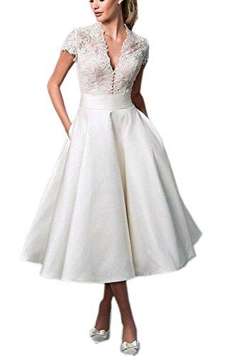 Cloverbridal V-Ausschnitt Kurze Spitzen Satin Hochzeitskleid Brautkleider Ballkleider...