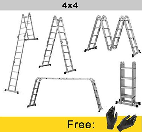 Nawa Klappleiter 4.2M Alu-Leiter Vielzweckleiter Gelenkleiter Universalleiter 4x4 | Aluleiter Mehrzweckleiter Kombileiter Anlegeleiter 150kg EN131. Hergestellt in Europa