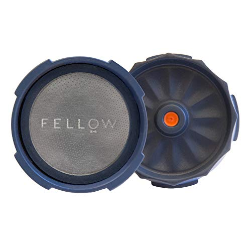 Fellow Wiederverwendbarer Filter und druckbetätigtes Zubehör für die Aeropress-Kaffeemaschine mit Espresso-Style, tropffreiem Eintauchen und kalter Zubereitung zu Hause Stein blau