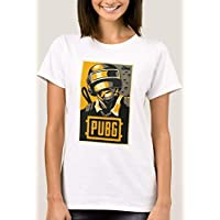 T-Shirt With Design for Women, Pubg Game, White