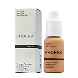 PHOERA 30ml Concealer Cover, Liquid Matte Full Coverage Concealer Cover Shadows Skin Care Foundation Oil Control Brighten the Long Lasting Shade (Nude #102)
