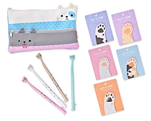 DSstyles Funny Cats Briefpapierset mit Großformat Pencil Case Stift Tasche, Cat Claw Flagge Haftnotizen Self-Stick vorne Schreibblöcke und Stifte - C