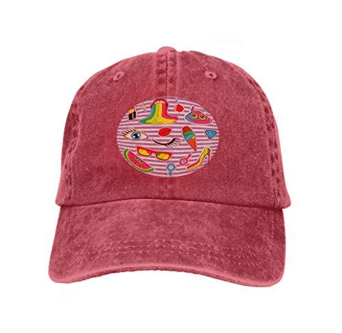 Neutral Cotton Denim Adjustable Hat Men Women Patch Badges Lips kiss Heart Star Ice Cream Lipstick Eye shi red -