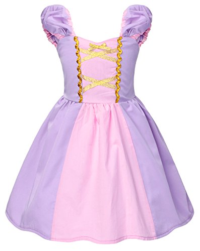 Rapunzel Kostüm Kinder Mädchen Tutu Verrücktes Kleid Kleider Halloween Cosplay Kleidung Geburtstag Party Ankleiden Karneval Zeremonie Hochzeit Abendkleid ()