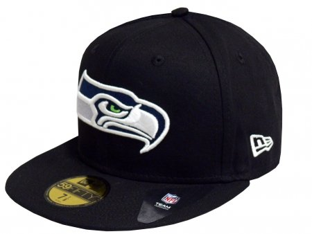 NEW ERA Baseball Cap 59FIFTY SEATTLE SEAHAWKS NFL TEAM BLACK BASE FITTED Gr. 7 1/8 (Hat Feld 59fifty)