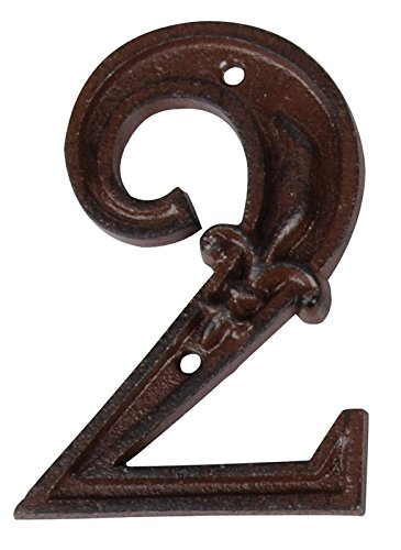 Esschert Design Gusseiserne Hausnummer 2, rostbraun, 7.9 x 1.3 x 11.2, DB62-2