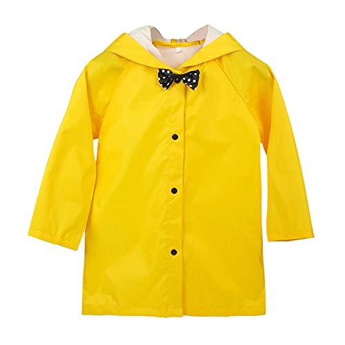 Xinvivion Lightweight Kids Bowknot Raincoat Children Rainsuits Students Long Sleeve Waterproof Coat Hooded Ponchos Rainwear