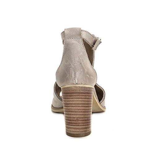 ALESYA by Scarpe&Scarpe - Bottines hautes ouvertes devant avec ouvertures latérales, en Cuir, à Talons 9 cm Beige