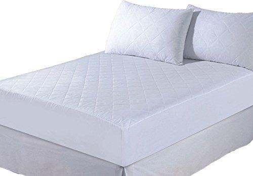 E4EMPORIUM–Gesteppter Matratzenschutz, Spann-Matratzenbezug–alle Größen erhältlich–mit Kissen, Polycotton, weiß, King Size