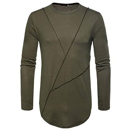 Paolian T-Shirt à Manches Longues col Rond décontracté Couleur Unie pour Hommes, élégant et Confortable Automne et Hiver Hommes Autocollants