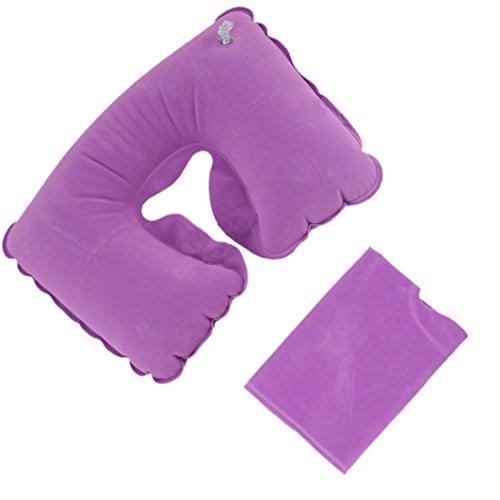 hkfv Give You cómodo viaje. inflable almohada de viaje cuello U resto cojín de aire + máscara de ojo + auriculares útil para Bussiness vuelo viaje, Unisex, morado