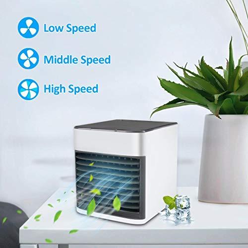 Juzie 3 in 1 Mini Luftkühler, Mobile Klimaanlage, Tischventilator, Aircooler Klimagerät, tragbar Ventilator Luftbefeuchter Luftreiniger mit USB leise