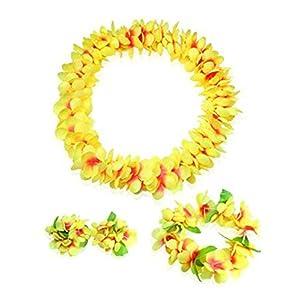 Hawaiian-Hula-rendimiento-de-traje-determinada-Amarillo