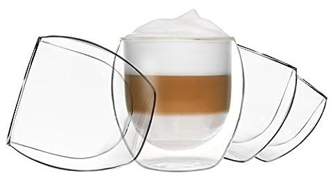4 x 310 ml Jumbo Double Paroi - Verres à Cappuccino Verres, thermique Effet de suspension, convient également pour Latte Macchiato, Thé, Cocktails, glaces, jus, eau, Cola, desserts, etc., duos by Feelino