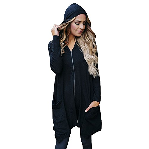 Damen Mantel Felicove, Reißverschluss Langarm-Mantel Tops Outwear Kapuzenmantel