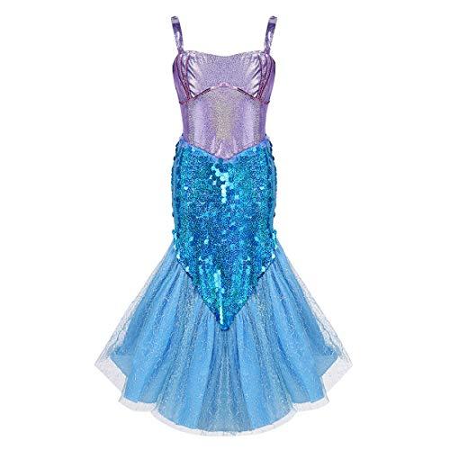 (Alvivi Mädchen Pailletten Kleine Meerjungfrau Prinzessin Kostüm Kleid Fasching Party Halloween Rollspielen Weihnachten Kinder Kostüme Blau 122-128/7-8Jahre)