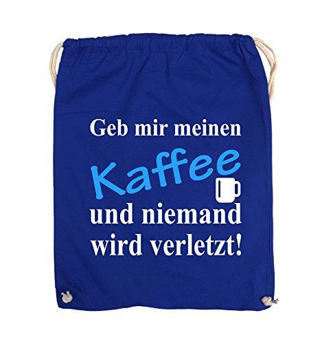 Comedy Bags - Geb mir meinen Kaffee und niemand wird verletzt! - Turnbeutel - 37x46cm - Farbe: Schwarz / Weiss-Neongrün Royalblau / Weiss-Hellblau
