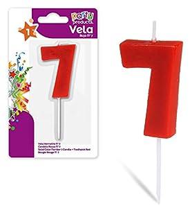 Party- Vela de cumpleaños numero 7, 5 x 3.5 cm, Color rojo (68031)