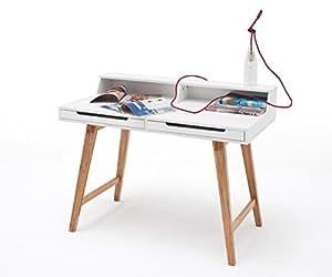 Bureau talina blanc 110 x 58 jambes massif 2 tiroirs bureau