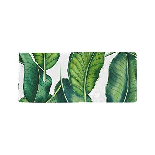 Green Retro Banana Palm Leaves Cool Lether Business Card Coin Id Pouches Holder Travel Clutch Purse Money Clip Bifold Wallet Case for Girls Men and Women Front Pocket Checkbook (Clip Case Card Id-money)