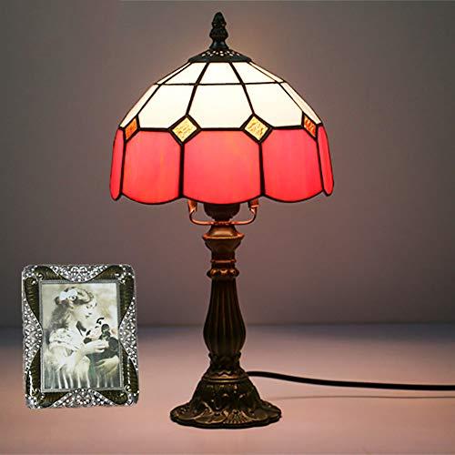 CCSUN Klein Tiffany stil Bett tischleuchten Bett Lampe, Vintage Red Tabelle licht Für Glasschirm E14 Zink-legierung Tischleuchte 6 farben 14.9 in-Rot H:14.9in -