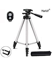 Marklif® Adjustable Aluminium Alloy Tripod Stand Holder for Mobile Phones, 360 mm -1050 mm, 1/4 inch Screw Mobile Holder Bracket with Shutter Remote Controller