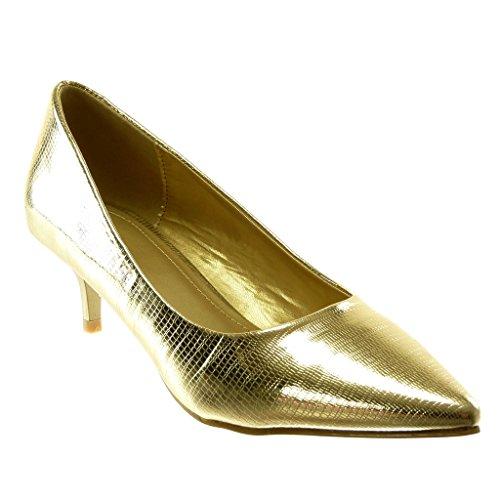 Angkorly - Scarpe Moda Decollete con Tacco Slip-on Stiletto Decollete Donna Coccodrillo Verniciato Tacco Stiletto Alto 5.5 CM - Oro L506-20 T 37