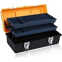 Cassetta degli attrezzi Caja de herramientas plegable plástica de la Tres-capa del hardware casero portátil de la reparación multifuncional (Color : NEGRO, Tamaño : 17'')
