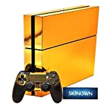 Consoles Ps4 Best Deals - SKINOWNTM PS4 Skins Golden Skin Gold Sticker Vinly Decal Cover for Sony PS4 PlayStation 4 Console and Controller