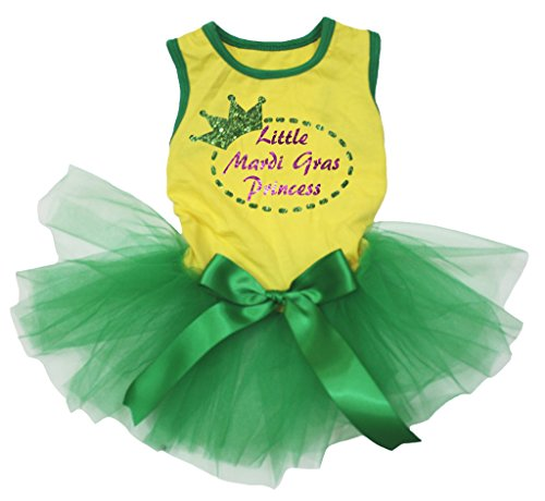 petitebelle Hund Kleid LITTLE Mardi Gras Princess gelb Baumwolle Shirt Grün Tutu (Princess-hund-tank)