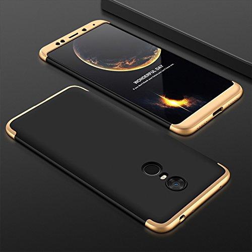 Xiaomi Redmi Note 4 Hülle,Xiaomi Redmi Note 4 Schutzhülle[Mit Displayschutz]3 in 1 Ultra dünn Hard shell Case 360 Grad Schutz Tasche Etui Handyhülle cover für Xiaomi Redmi Note 4-Gold Schwarz