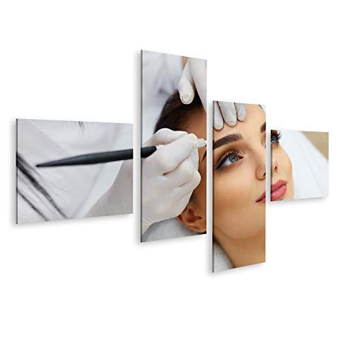 Bild Bilder auf Leinwand Make-up. Kosmetikerin Hände tun Augenbraue Tattoo auf Frauengesicht.Permanentes Brauen Make-up im Kosmetiksalon. Nahaufnahme des Spezialisten für Augenbrauen-Tätowie