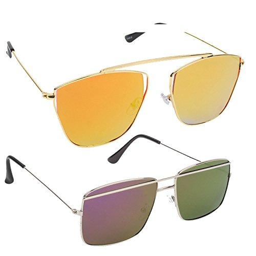 Hob Epic Ink Stylish Flat Cat Eye Orange & Oval Purple Mirror Metal Frame Unisex Sunglasses Combo (Set Of 2)