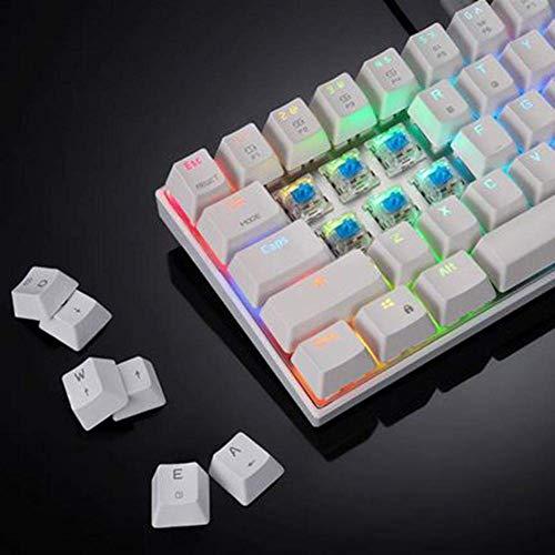 ER-JI Kabellose Bluetooth USB-Kabel Dual-Modus Mechanische Tastatur CK62Outemu-Schalter Programmierbare beleuchtete RGB-61-PC-Tasten,White -
