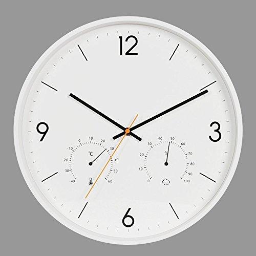 Vinteen orologio da parete multifunzione orologio digitale in plastica con pendenti e orologi da polso con misuratore di temperatura e umidità orologio da parete in metallo muto horologe ( color : white )