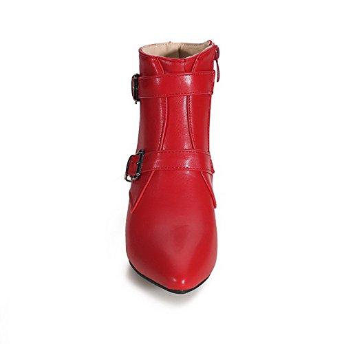 AgooLar Damen Mittler Absatz Spitz Zehe Blend-Materialien Reißverschluss Stiefel Rot