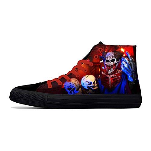 Botia Hombre Zapatos de Calavera Zapatos de Lona Altos Zapatos de Lona Estampados