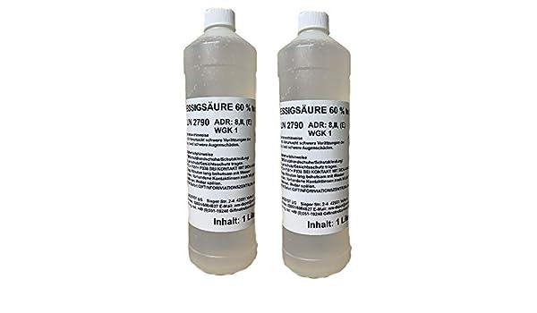 2x 1 Liter Essigsaure 60 Lebensmittelqualitat E260 Essigessenz